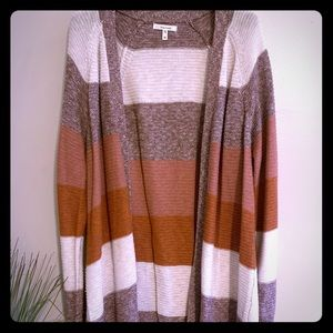 Mauve Color Block Detailed Knit Cardigan